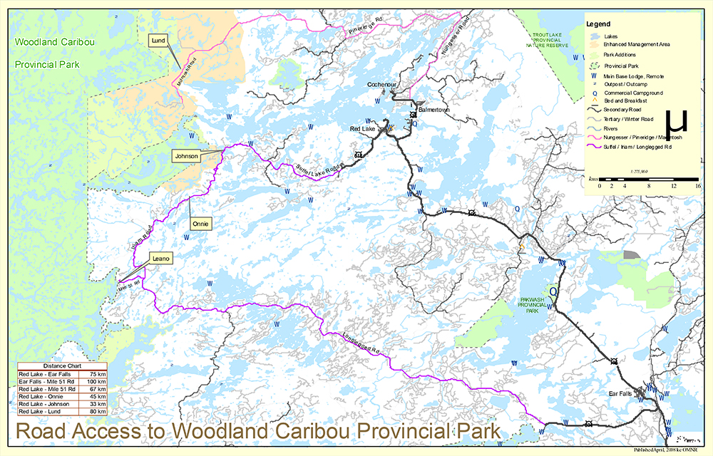 Access Roads to Woodland Caribou Provincial Park